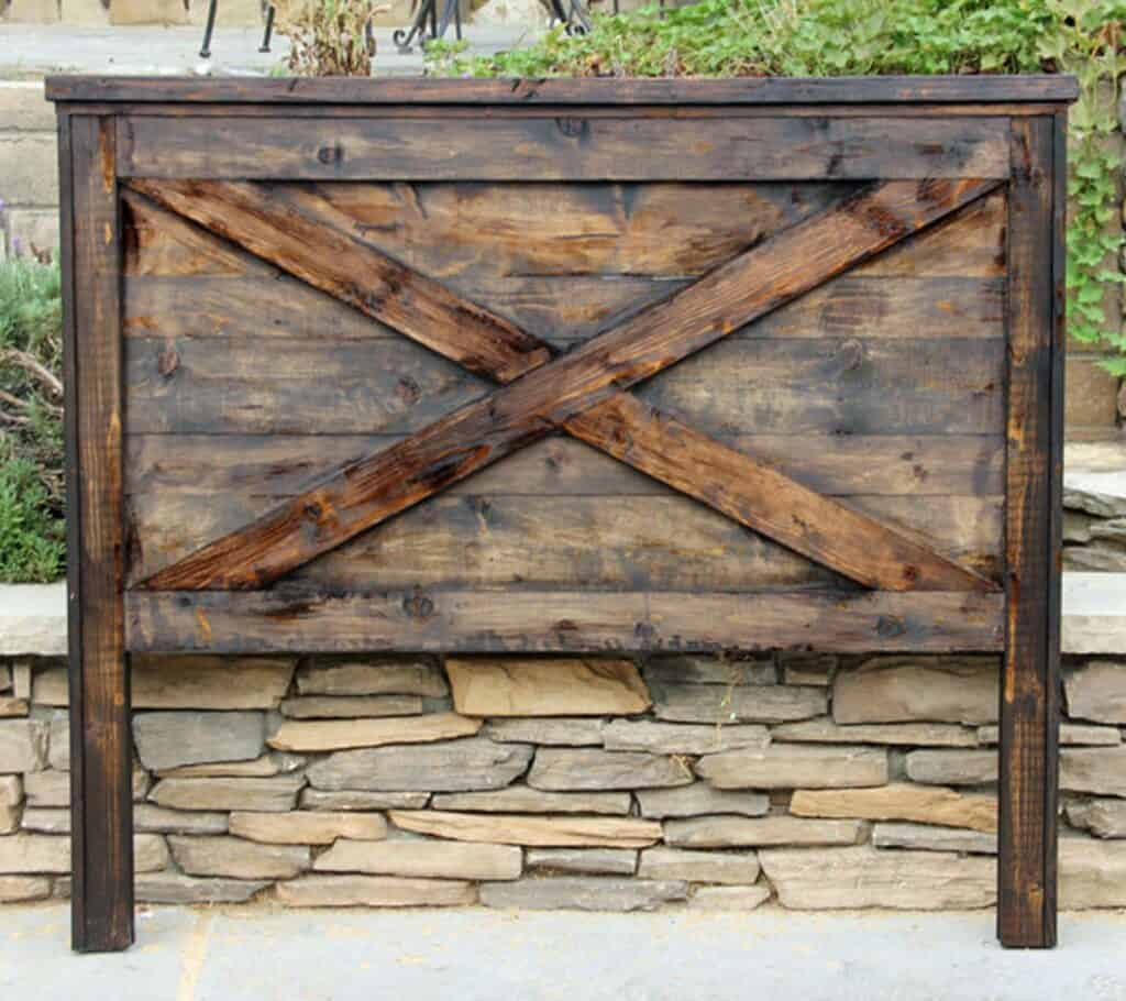 rustic farmhouse headboard made from reclaimed wood