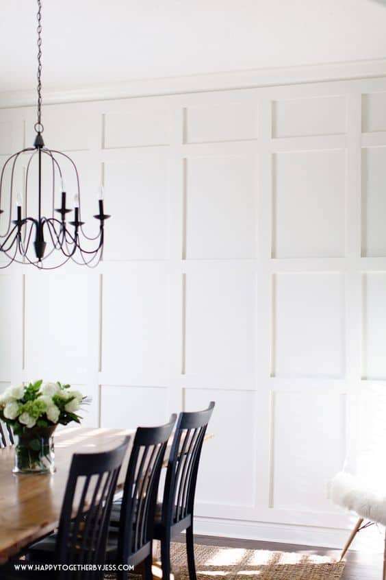 DIY board and batten wall in dining room