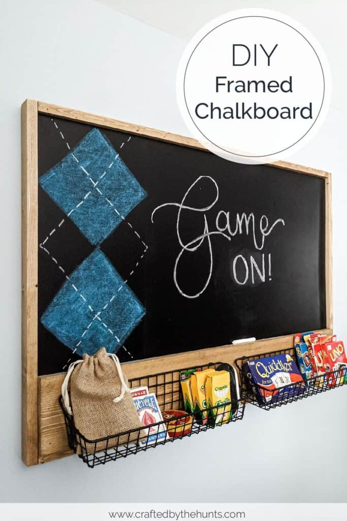 DIY framed chalkboard with metal storage baskets