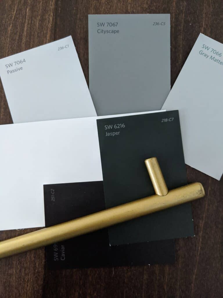 Sherwin Williams paint swatches, Jasper, passive, Gray Matters, and Cityscape
