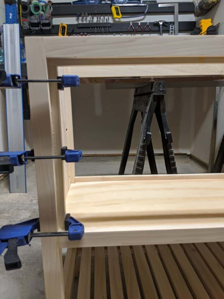 clamping wood to vanity