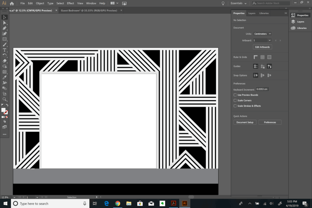 designing a feature wall in Adobe Illustrator