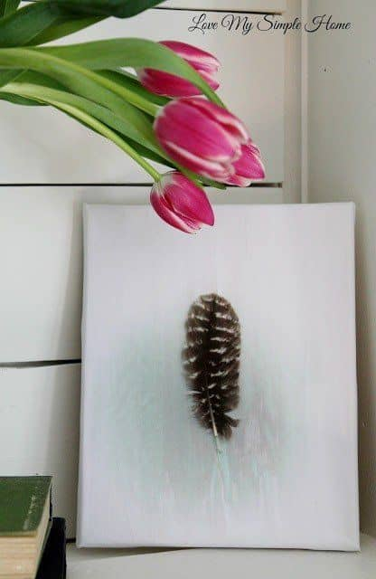 DIY feather canvas