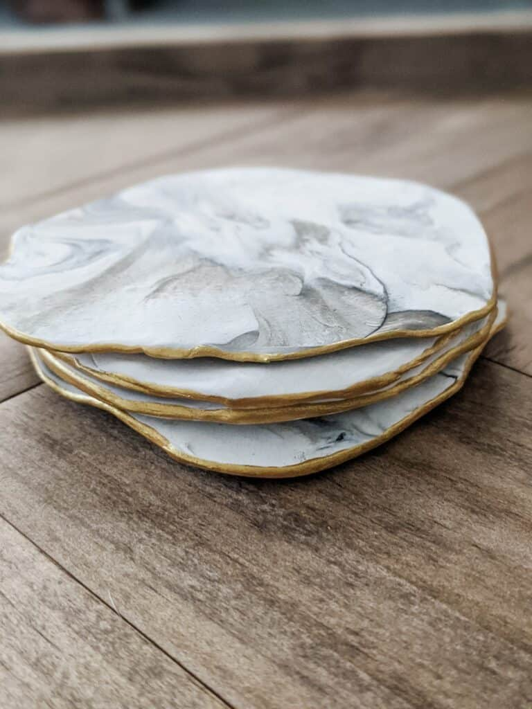 marble coasters with gold edge made from polymer clay