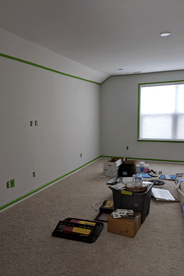 blank walls with green tape