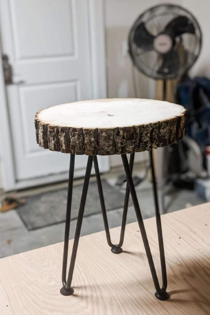 live edge side table with hairpin legs