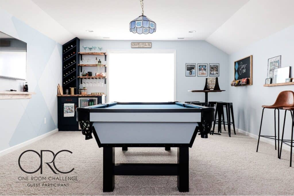 modern pool table in adult bonus room