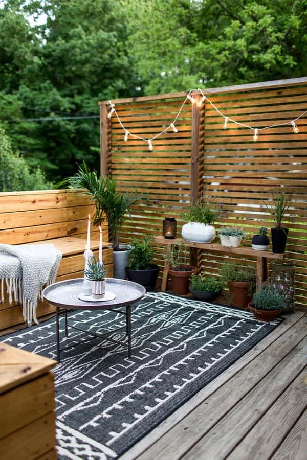 wood privacy screen on deck