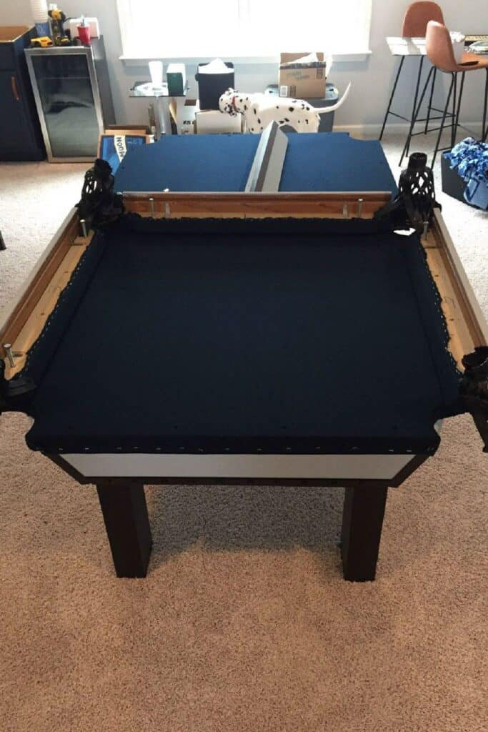 reassembling a pool table after refelting