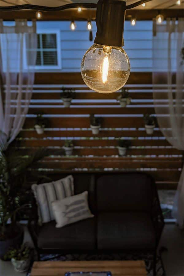 string lights on screened in porch