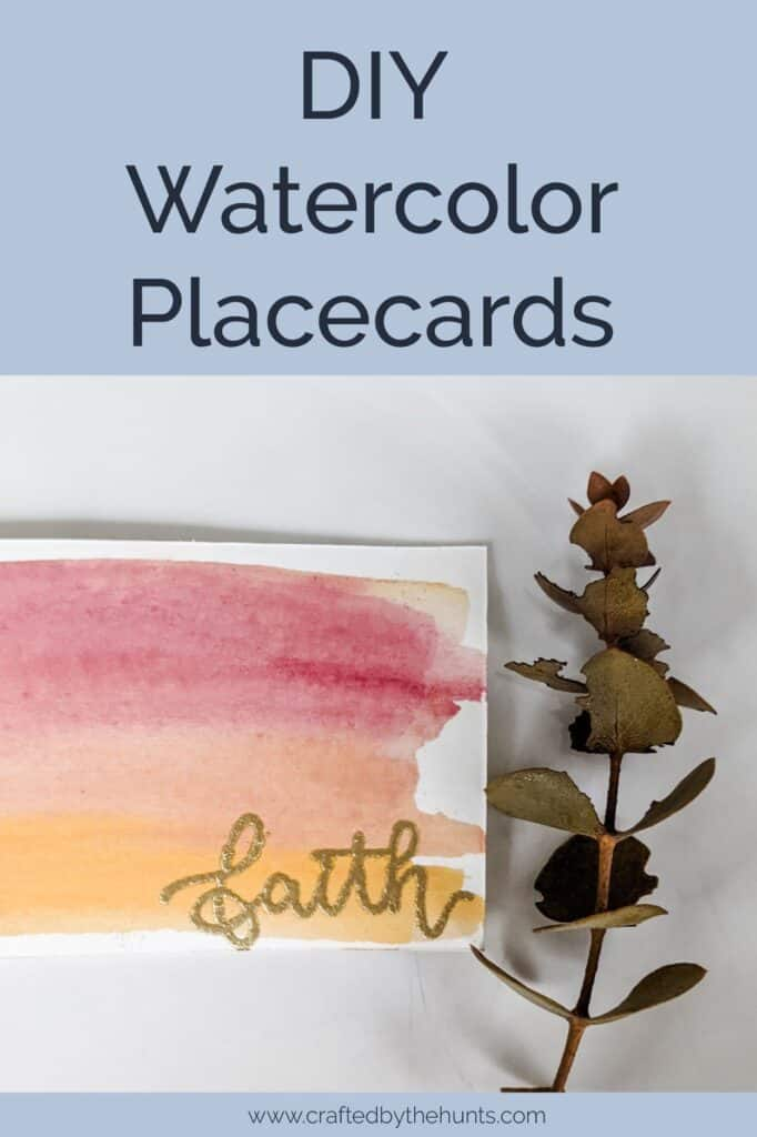 DIY watercolor placecards close-up
