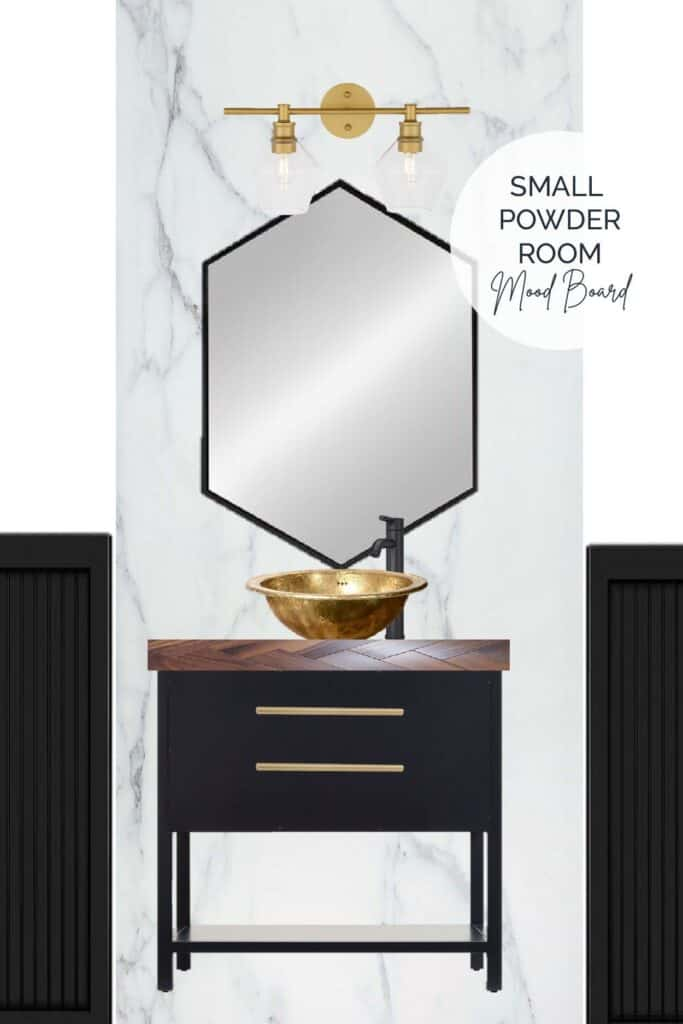 Small powder room mood board