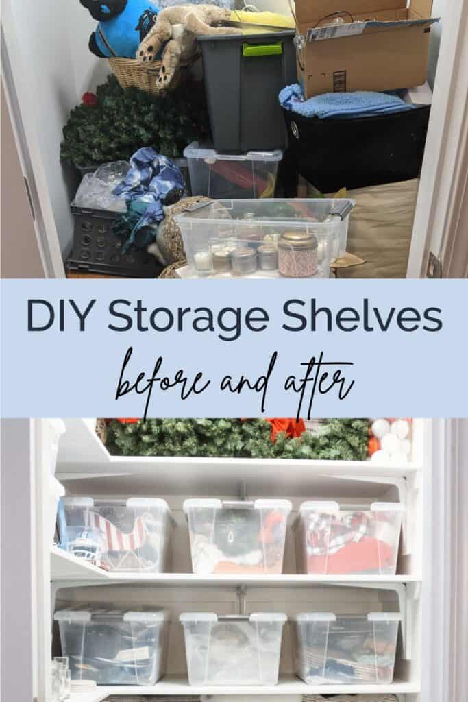 DIY storage shelves before and after
