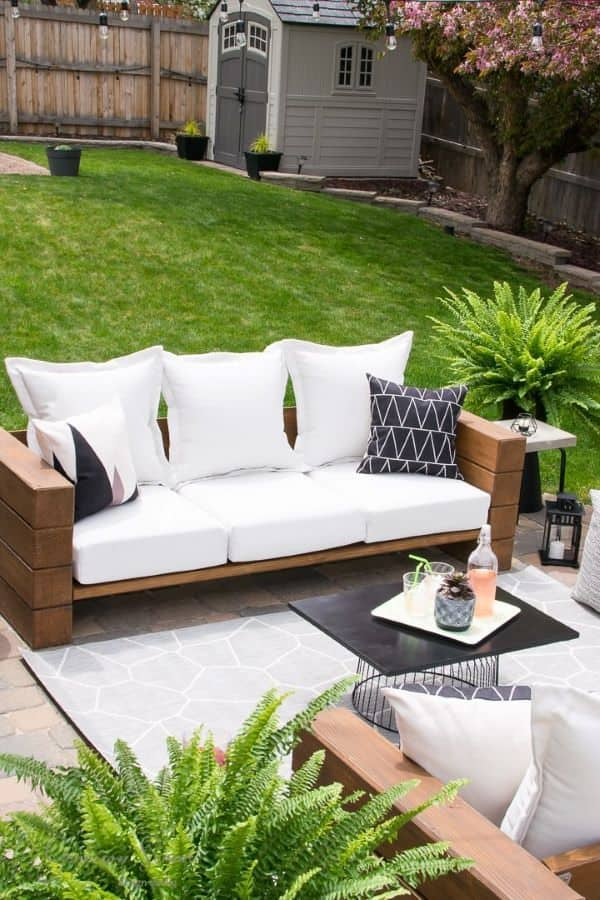outdoor seating with white cushions