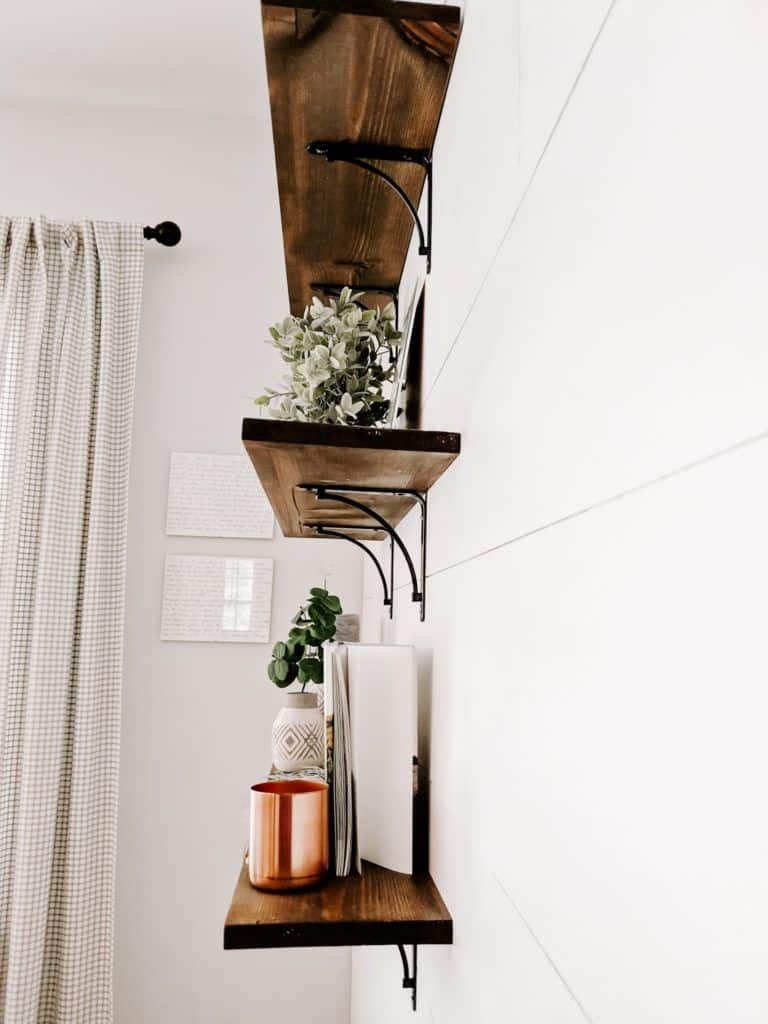 wood shelves with metal brackets