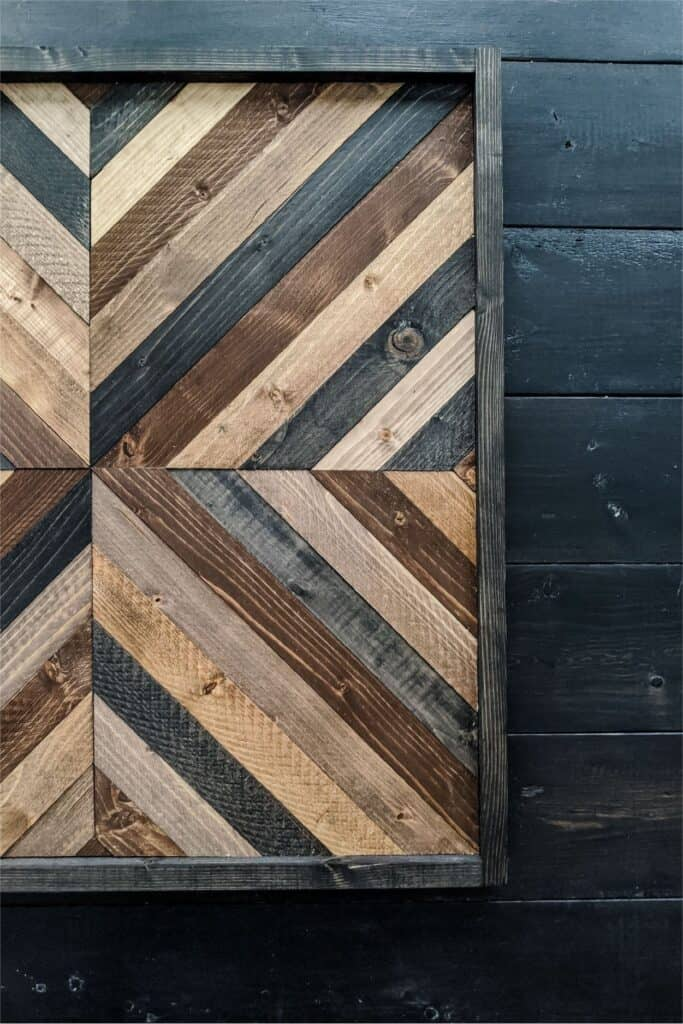 close-up of DIY wood wall art with simple geometric pattern