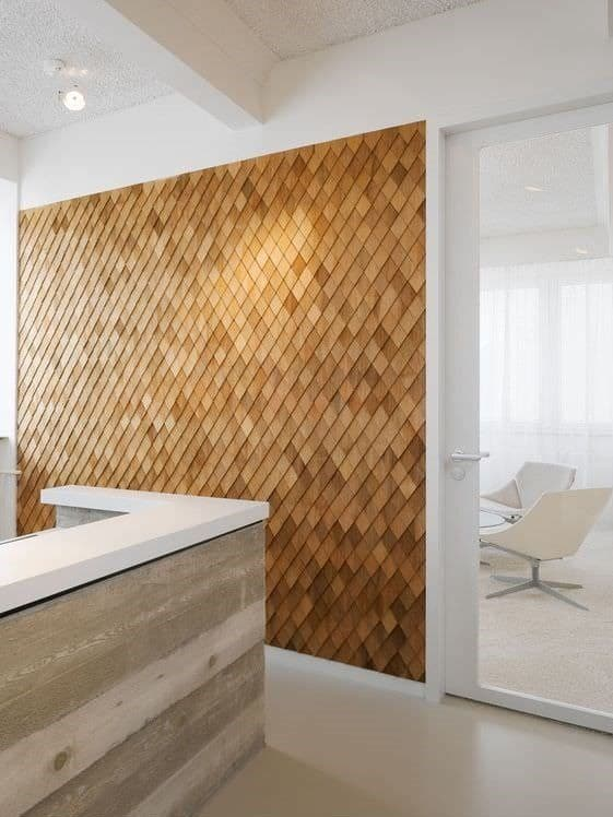 wood accent wall in office