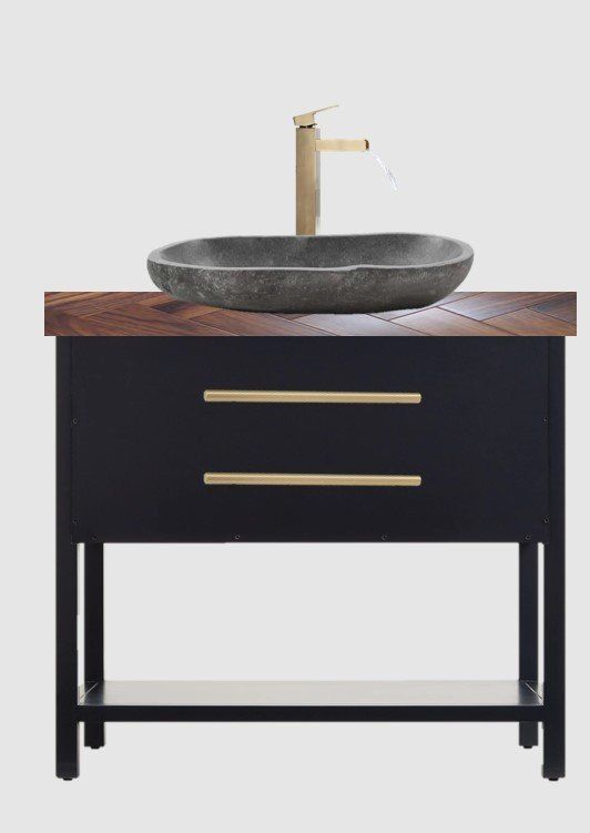 powder room mood board with vessel sink and wood countertop