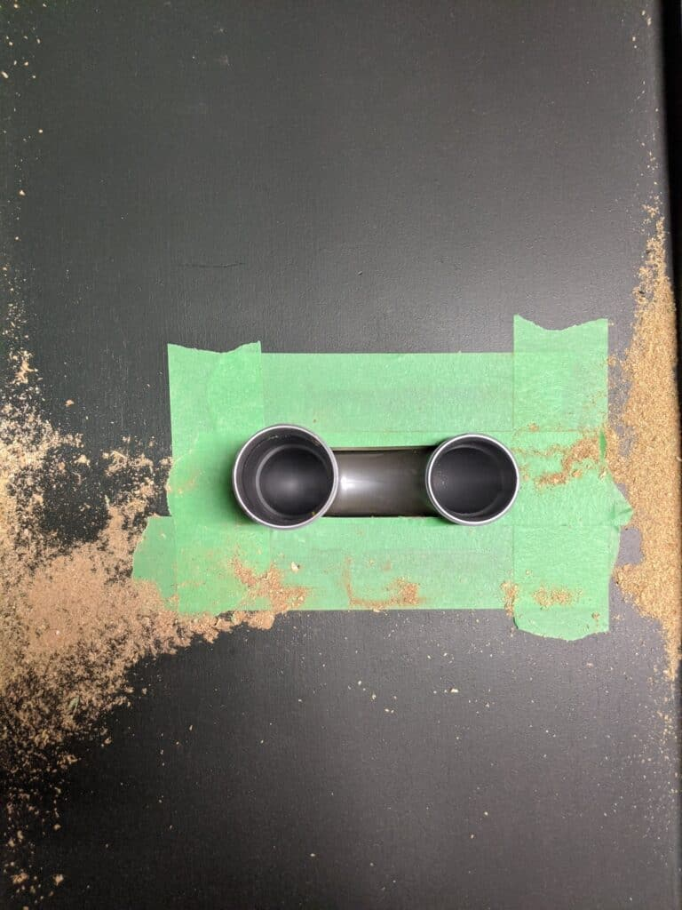 cutting hole in bottom of vanity for p-trap