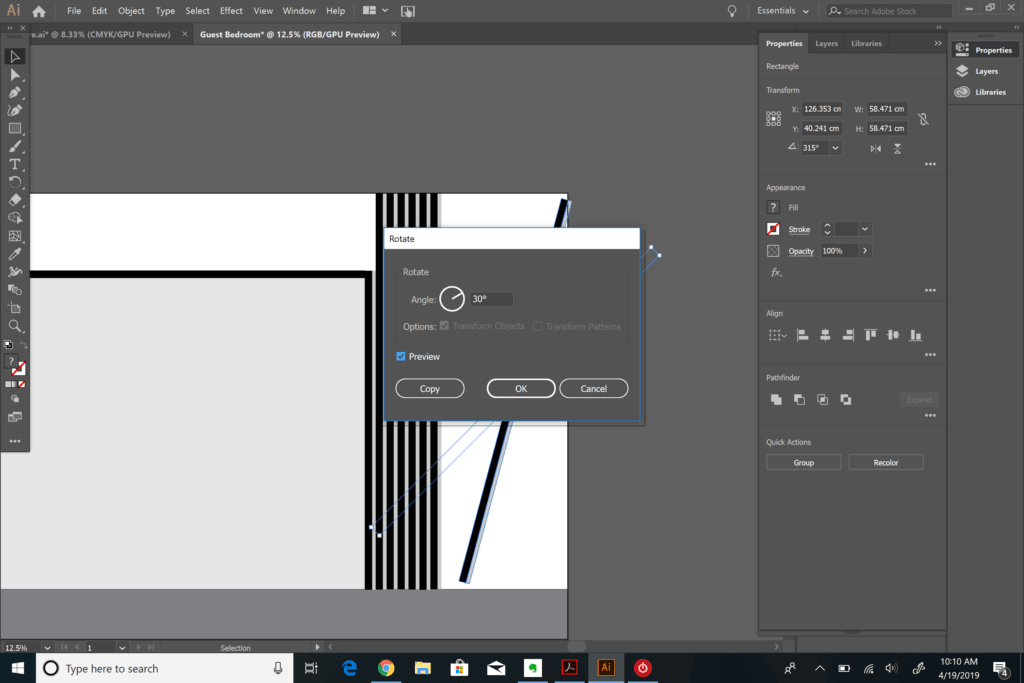 rotating objects in Adobe Illustrator