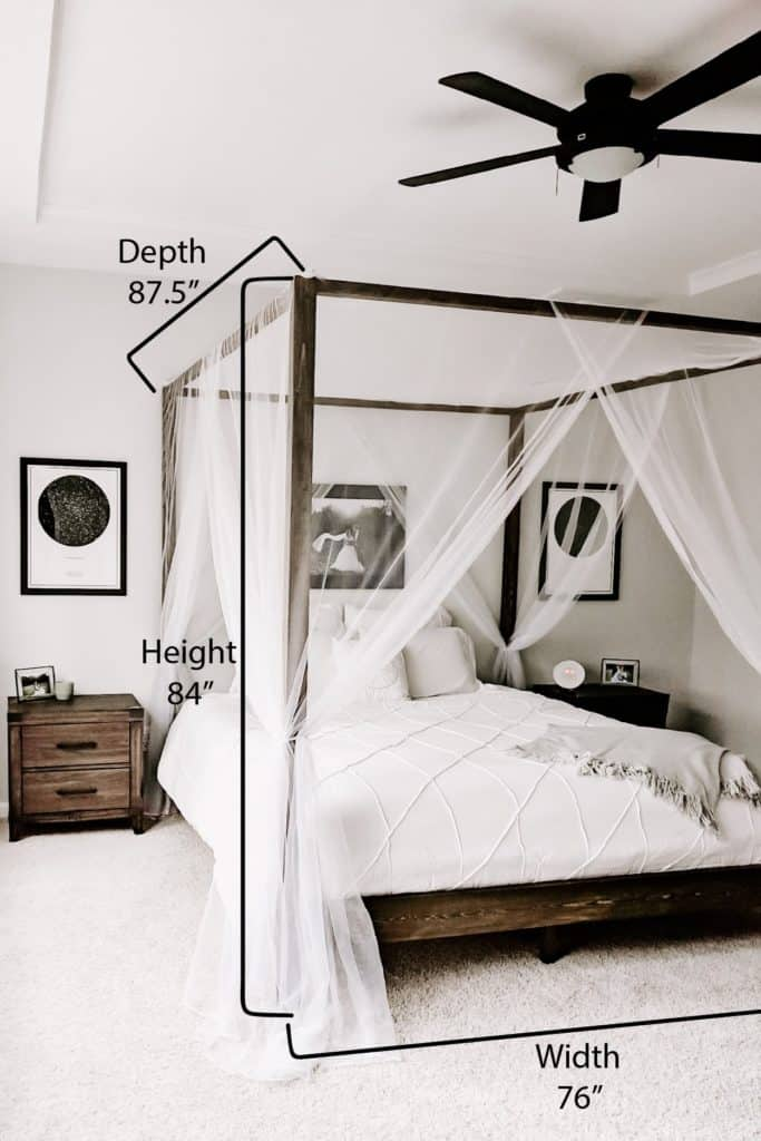 DIY canopy bed with labeled dimensions