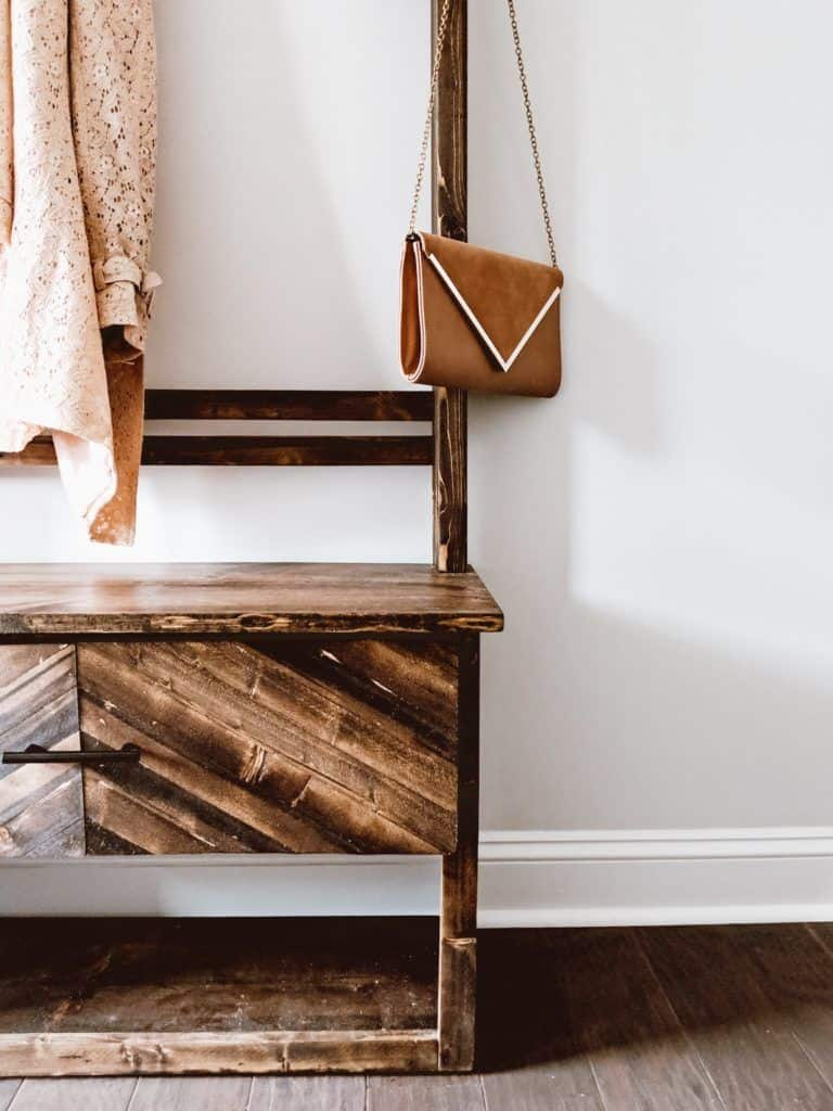 DIY hall tree with bench and drawer