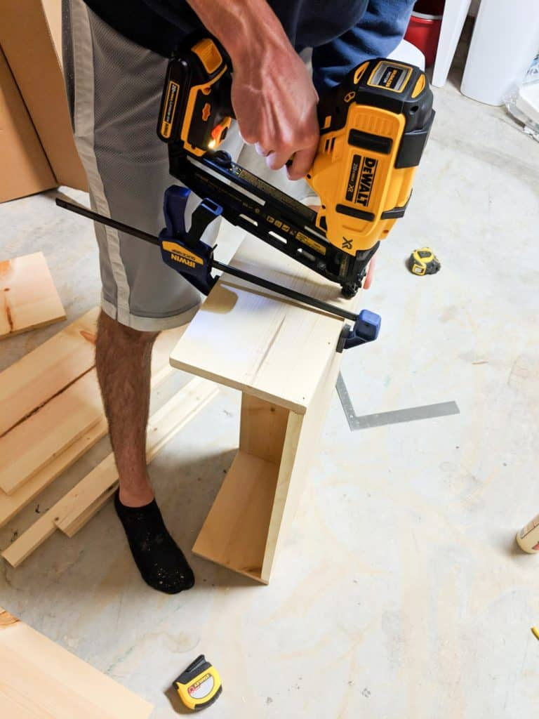 making drawer using nail gun