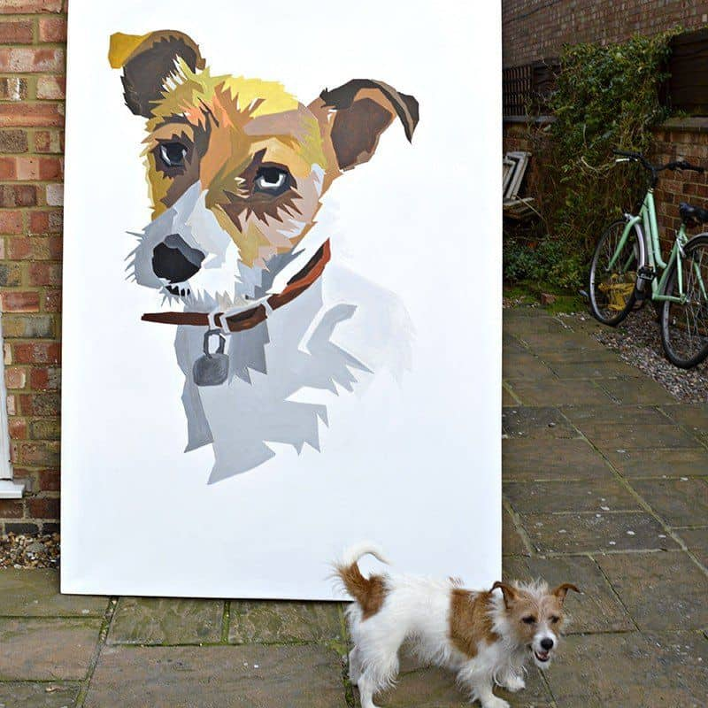 DIY giant wall art dog painting