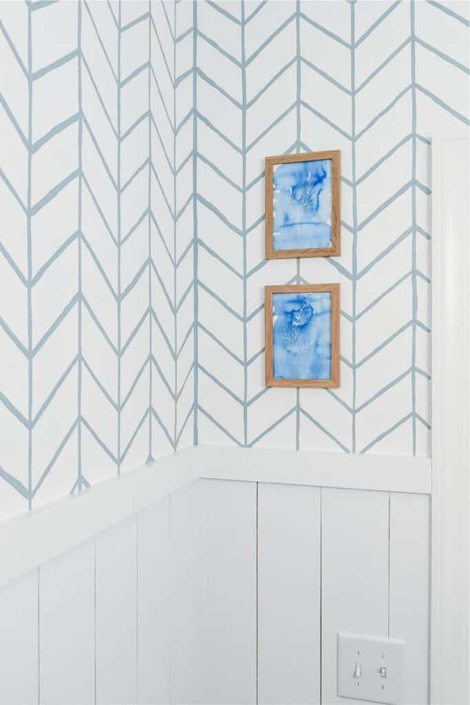 painted herringbone wall with vertical shiplap
