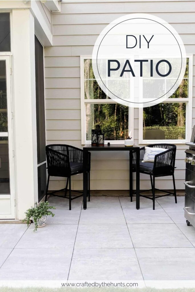 DIY patio with back table and chairs