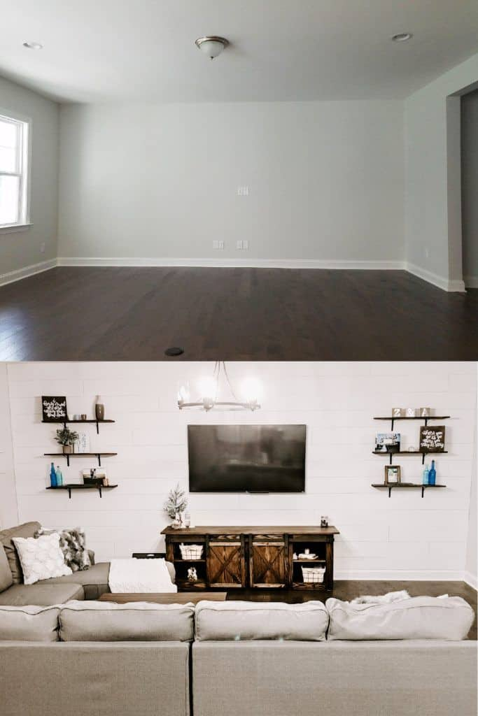 before and after shiplap accent wall in farmhouse style living room