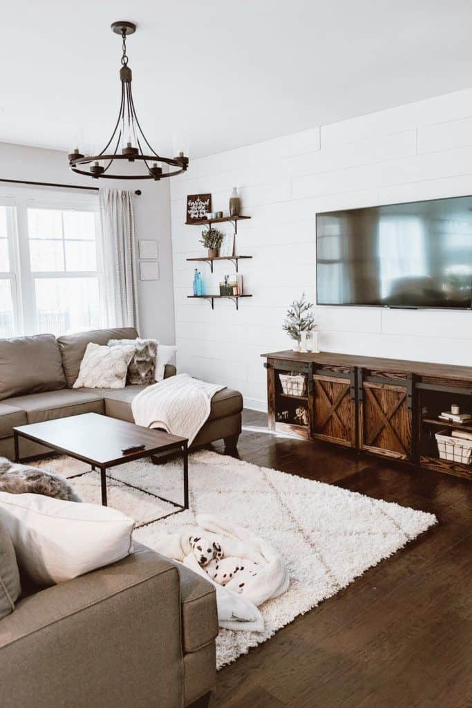 shiplap accent wall in farmhouse living room