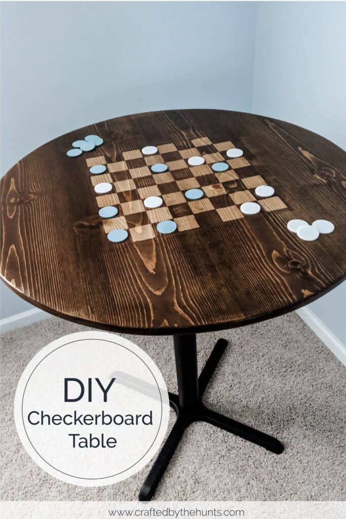 DIY checkboard table with checkers