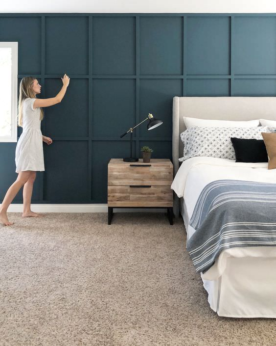 dark blue board and batten accent wall in bedroom | best accent wall ideas