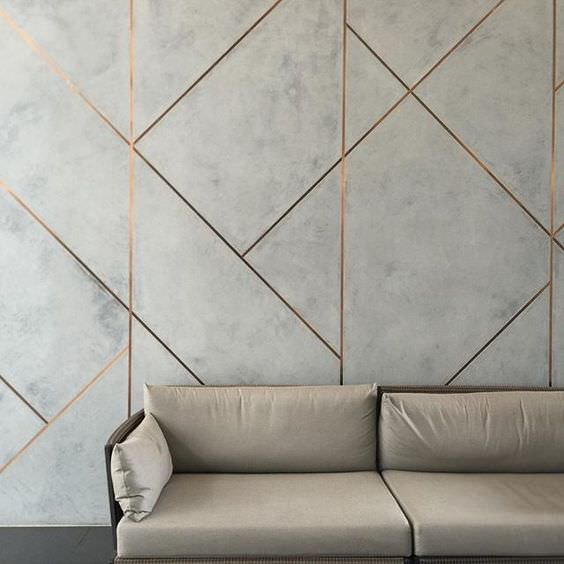 metal and cement accent wall