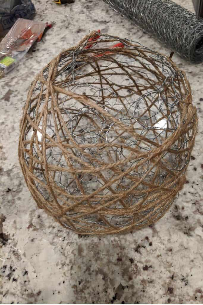 twine wrapped around chicken wire ball