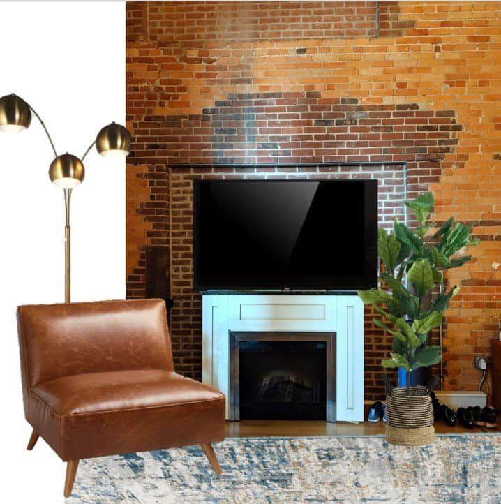 living room mood board with leather chair and brick wall