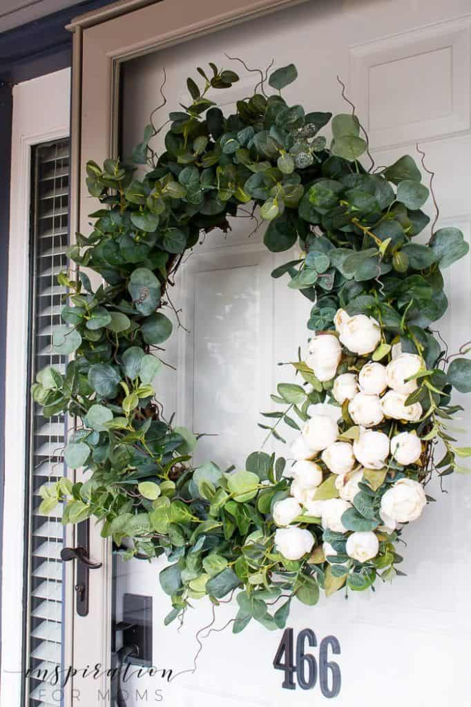 spring floral and greenery wreath