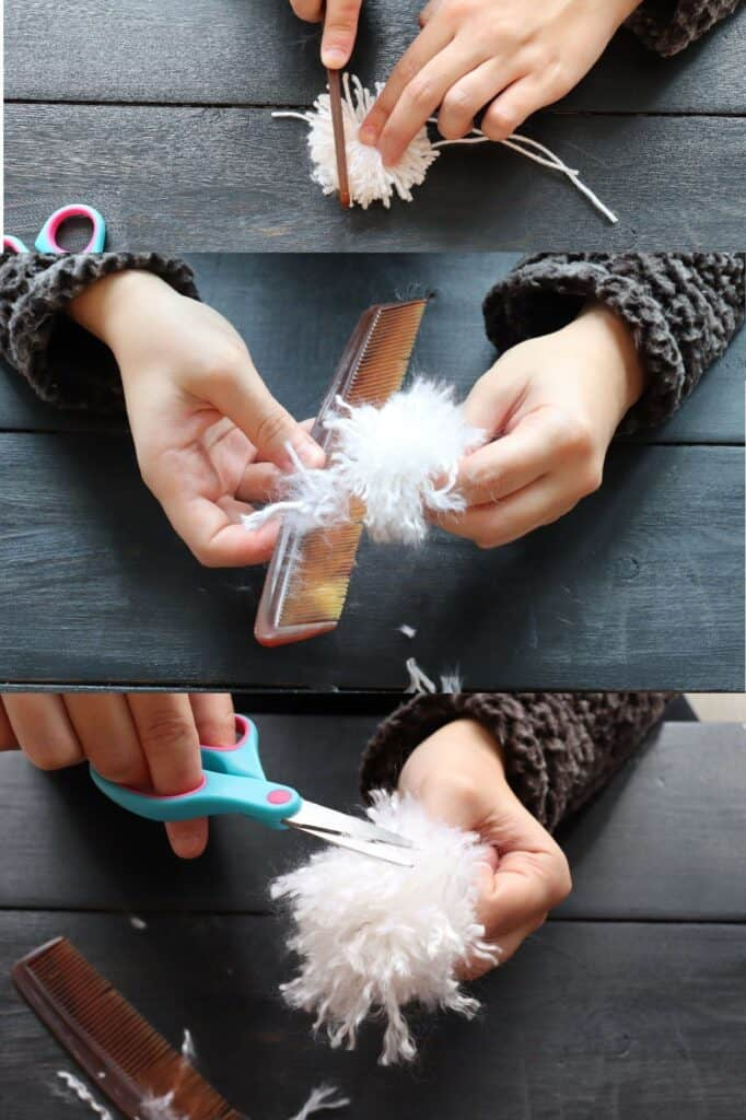 running a comb through diy pom pom to make it fluffy