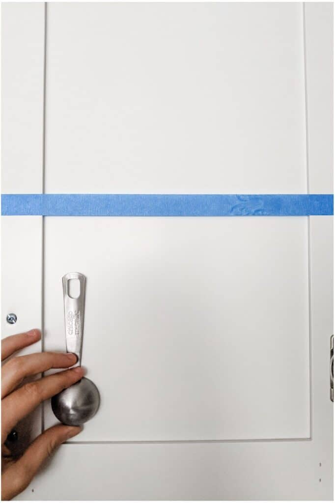 place first measuring spoon inside door