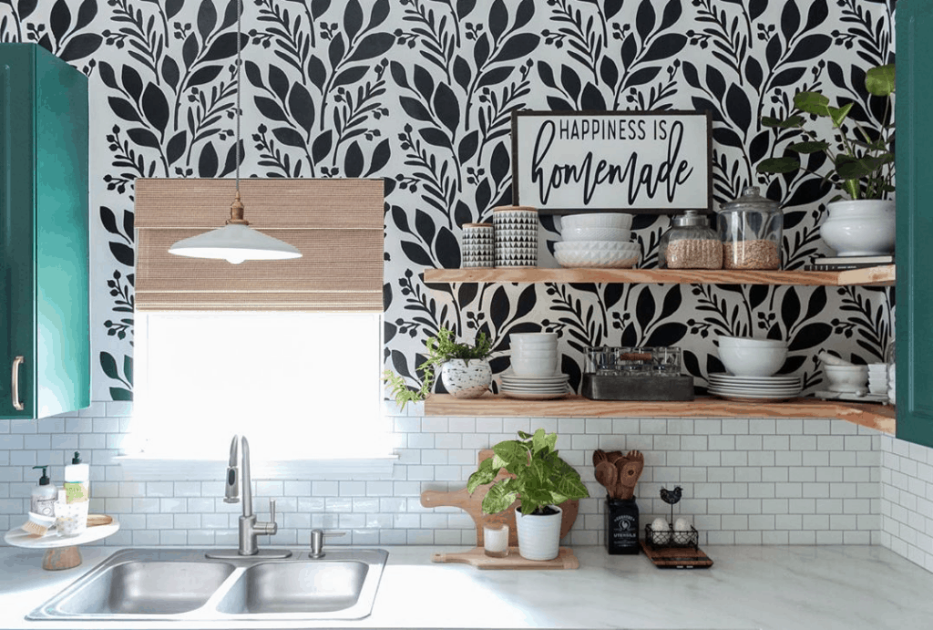 Kitchen with patterned wallpaper backsplash