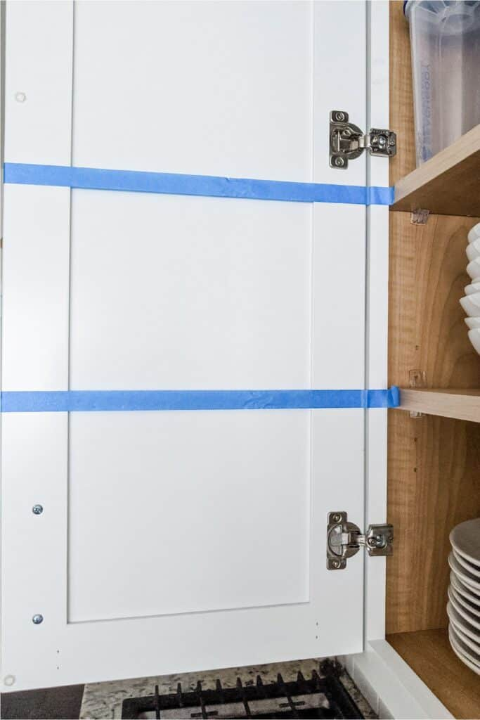 mark cabinets with blue tape