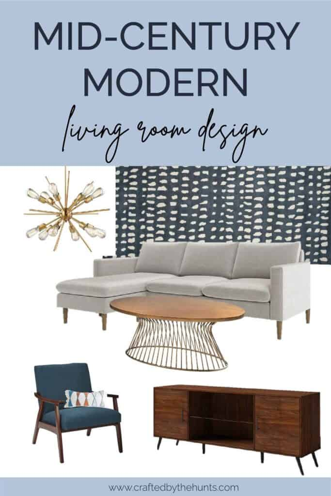 Mid-century modern living room design with mood board