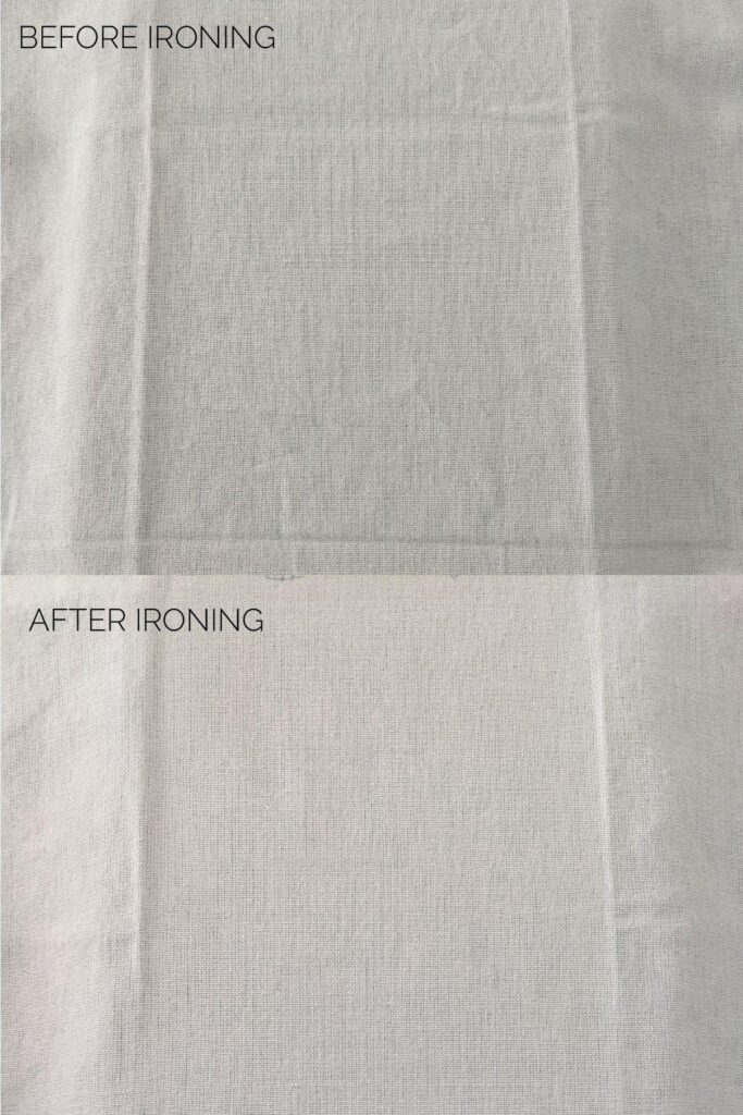 before and after ironing with Cricut Easy Press