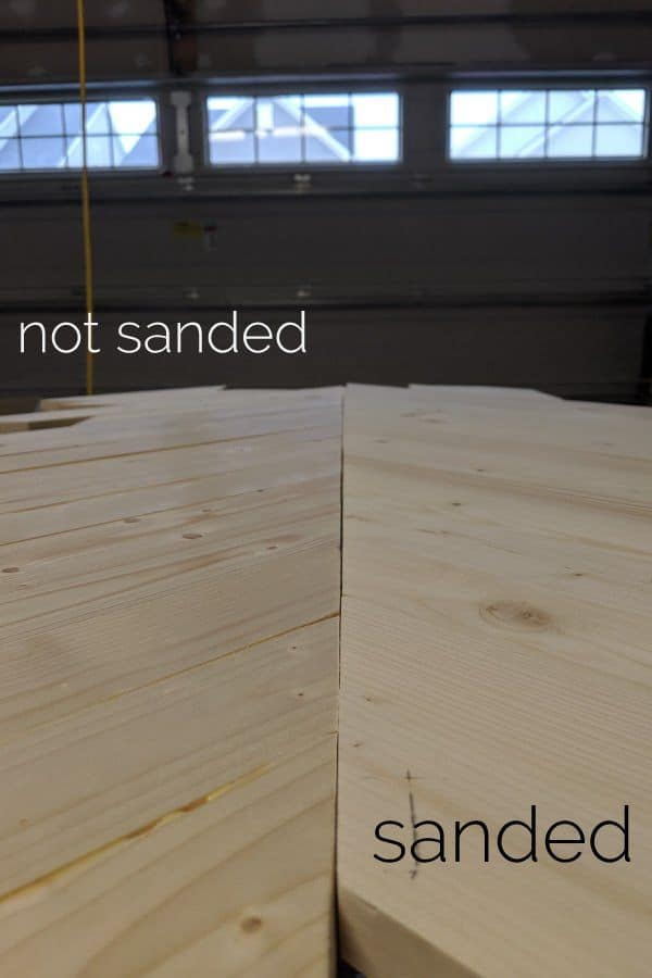 sanded vs. not sanded table top