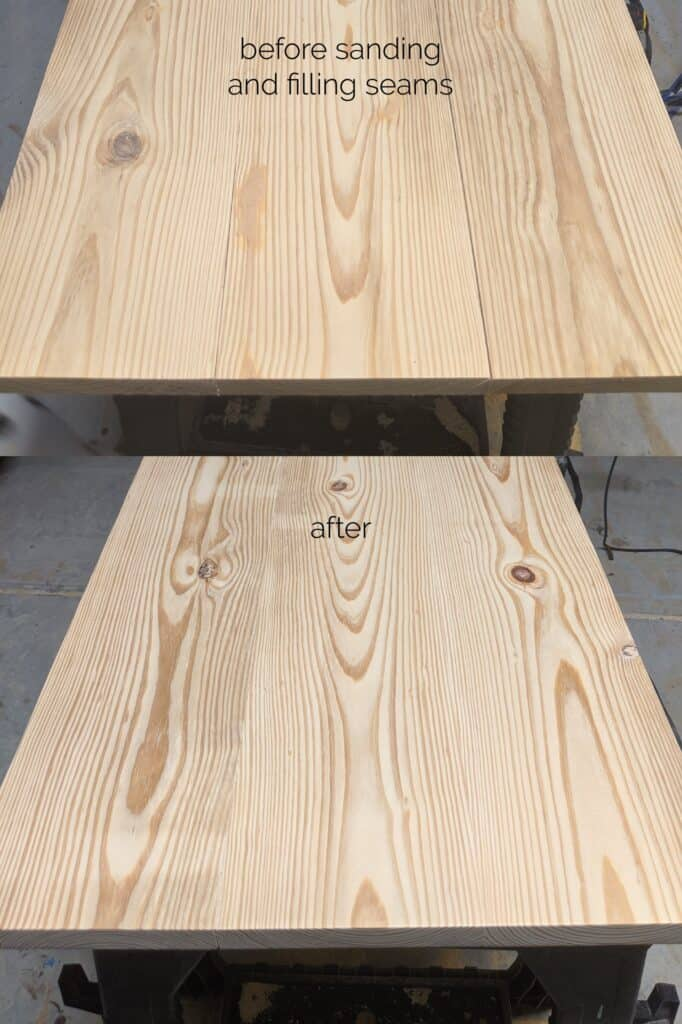 wood boards before and after sanding and filling seams