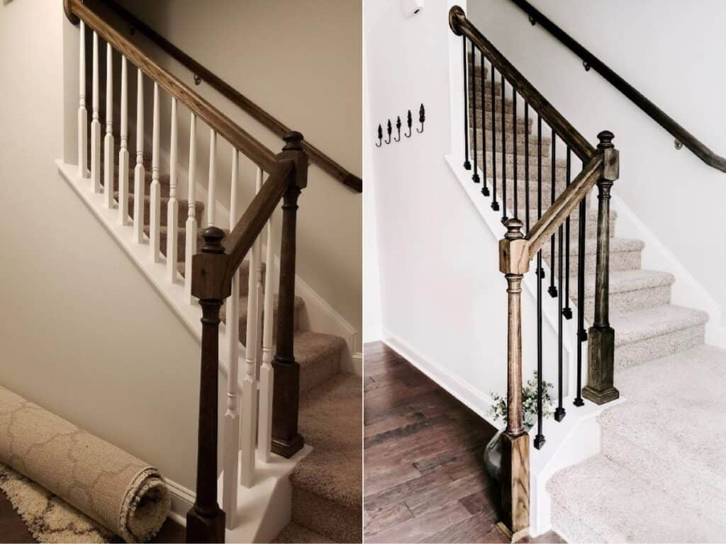 before and after | stairs with wood balusters and stairs with metal balusters