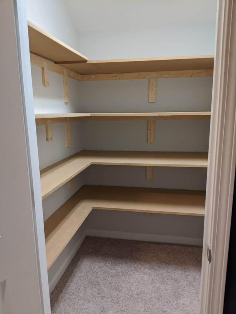 MDF shelves in closet