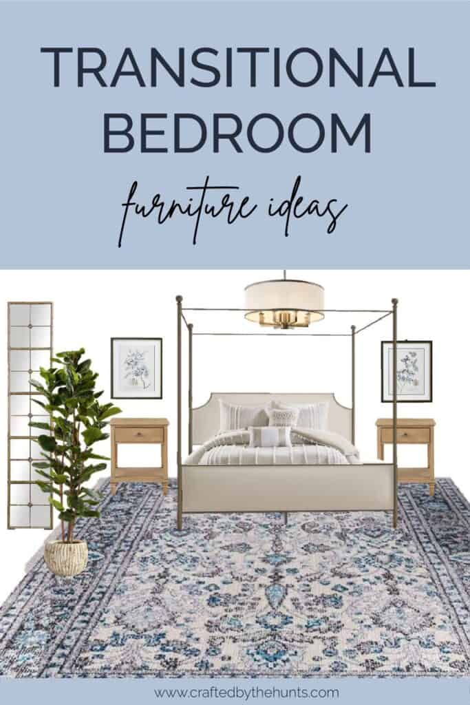 Transitional bedroom furniture ideas with mood board