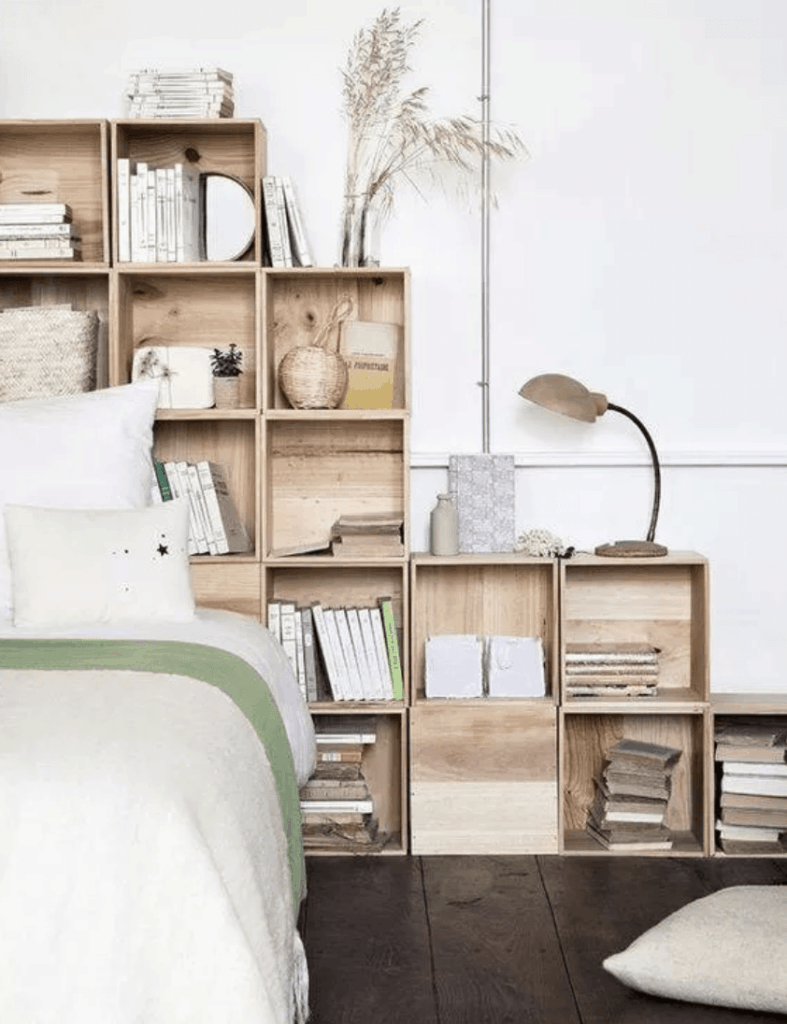 unique headboard made from crates for added storage
